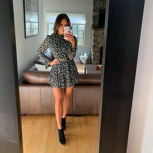 Floral long sleeved mini dress